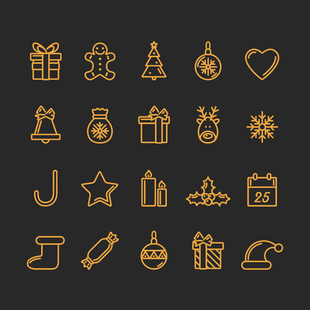 Set of Christmas Icons. Golden and Black Colours. Luxury Trendy Thin Line Design. Vector Illustration. Illustration