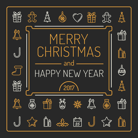 Merry Christmas and Happy New Year Card. Golden and Silver Colour Outlines on Black Background. Luxury Trendy Line Design. Vector Illustration.