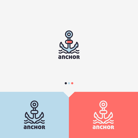 Anchor Logo Design Template. Simple and Clean Outline Style. Color and Monochromatic Version. Vector.