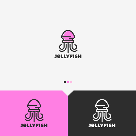 Pink Jellyfish Logo Design Template. Simple and Clean Outline Style. Color and Monochromatic Version. Vector. Illustration