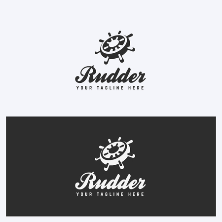 Rudder, Helm Logo Design Template. Sailing, Nautical Theme. Simple and Clean Style. Black and White Colors. Vector.