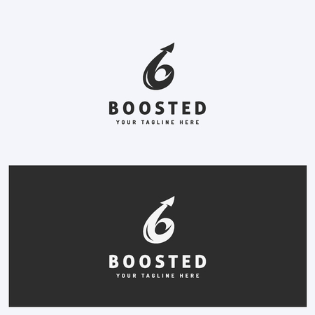 Abstract Business Logo Icon Design Template with Arrow. Simple and Clean Style. Black and White Colors. Vector.