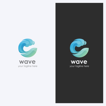 Abstract Water Wave Shape Logo Design Template. Corporate Business Theme. Cosmetics, Surf Sport Concept. Simple and Clean Style.