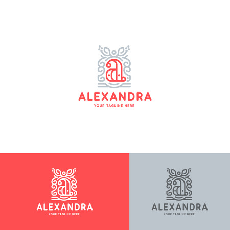 Luxury A Letter Logo Template Flourishes Calligraphic Elegant Ornament Lines. Business Crest Sign, Identity.