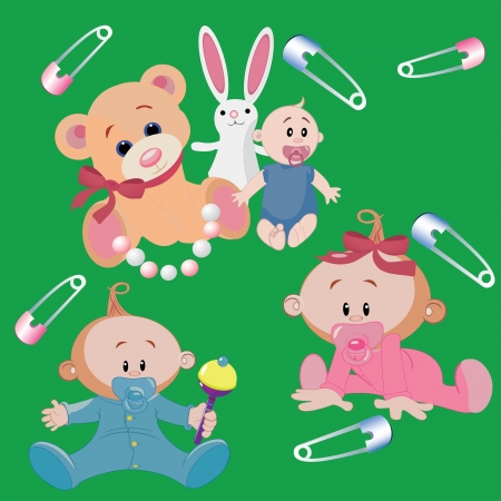babies, a boy and a girl with toys veselm bear, bunny Stock Vector - 20298246