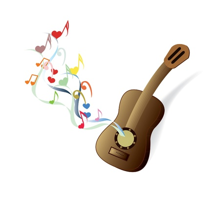 guitar, music, instrument, music, color ribbon, hearts, strings Illustration