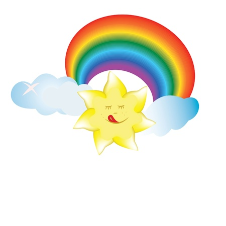 sun, cloud, rainbow, smile, sky, colorful illustration Vector