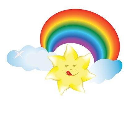 sun, cloud, rainbow, smile, sky, colorful illustration Illustration