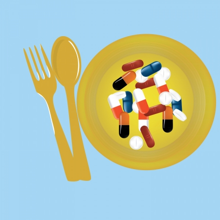 pills on a yellow plate with a fork and spoon