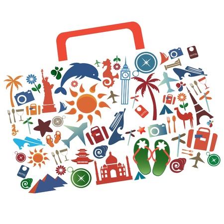 suitcase, palm tree, a church, a pyramid, a flower, a plane, tower,