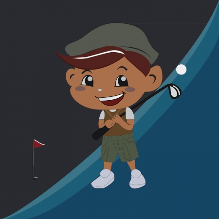 the boy who plays golf with a smile Illustration
