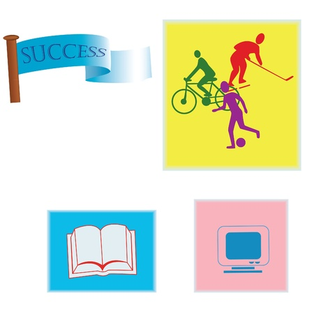 book icons, cyclist, hockey, football Stock Vector - 20472418