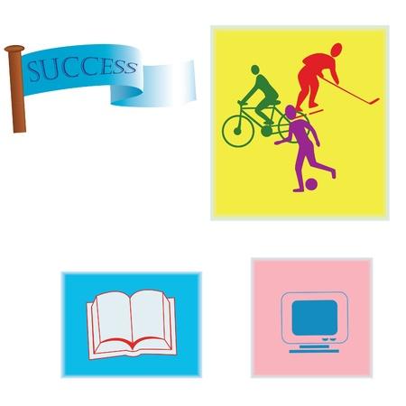 book icons, cyclist, hockey, football