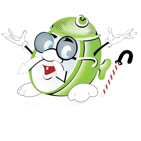 12 o'clock: Green cheerful alarm clock with big glasses Illustration