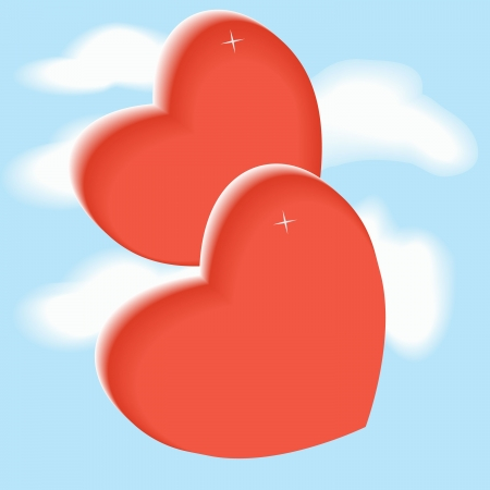 red heart in the sky in the clouds Illustration