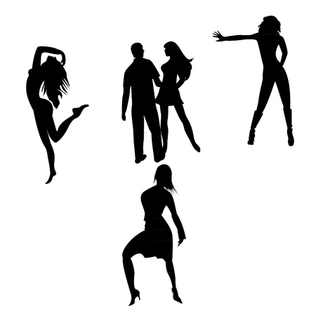 silhouettes of dancing people on a white background Illustration