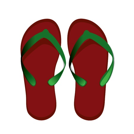 red womens flip-flops for the beach