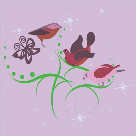 three cute little birds on a pink background Vector