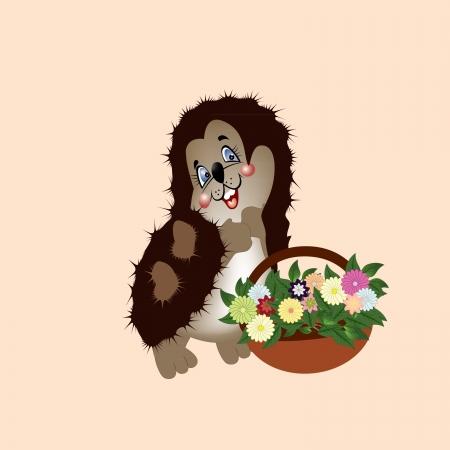 hedgehog, basket, flowers, thorns, chamomile, forest animal Illustration