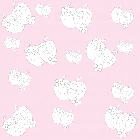 background, pattern, strawberries, drawing, fruit, berries, food Illustration