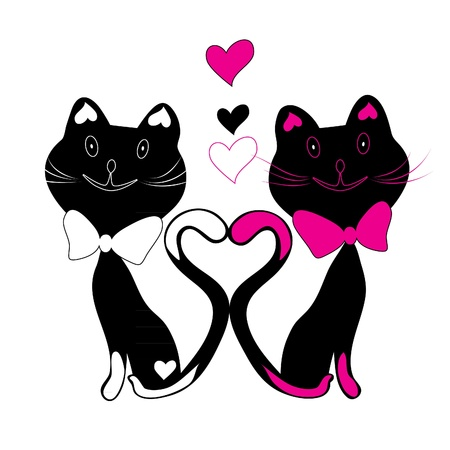 two black cat silhouettes, animals, hearts, couple Illustration