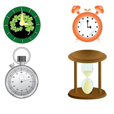 clock, alarm clock, stopwatch, arrows, hourglasses, dial