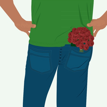man in blue pants with a bouquet of flowers in your pocket Illustration