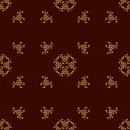 pattern of beige flowers with petals on a brown background Illustration