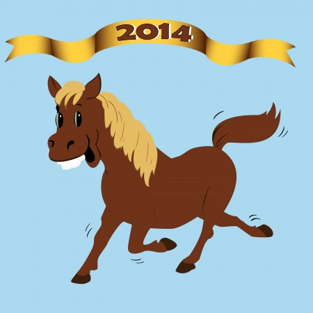 brown horse merry symbol of the year on a blue background Stock Vector - 21216039