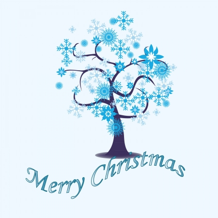 Christmas tree with winter leaves, beautiful snowflakes Badal on a tree branch Illustration