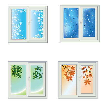 Four windows in the winter, fall, spring and summer in a beautiful image Vector