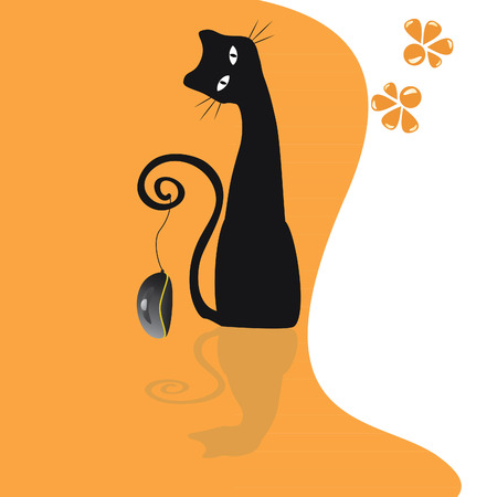 black cat with a mouse from a computer on an orange background Illustration
