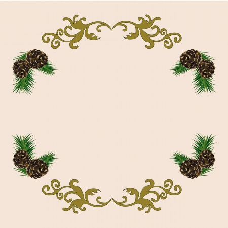 Christmas background with fir cones and green spruce branches Illustration