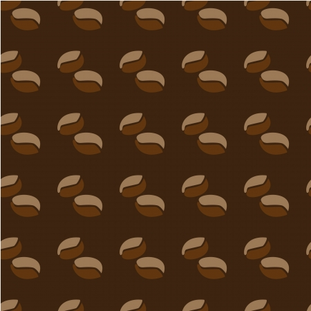 Two halves of coffee beans on brown seamless pattern