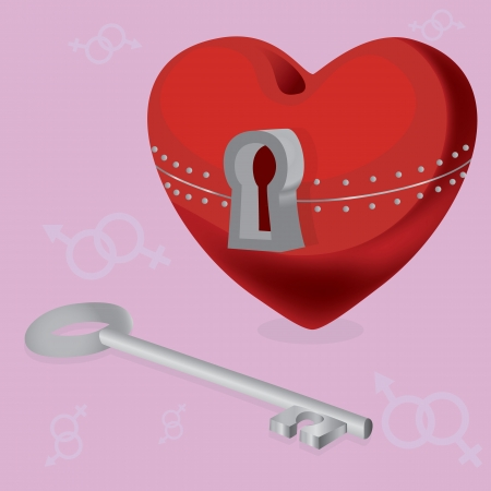 red heart with locks and keys on pink