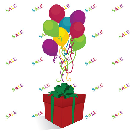 discount with gifts and balloons background for shop windows Illustration