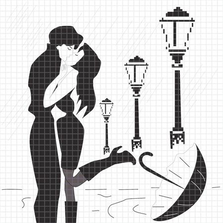 sotto la pioggia: coppia in amore sotto gocce di pioggia Vettoriali