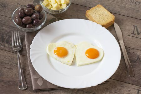 breackfast: Fried eggs in the shape of hearts