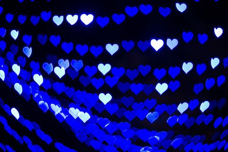 corazones azules: Blanco, corazones azules bokeh luces de desenfoque