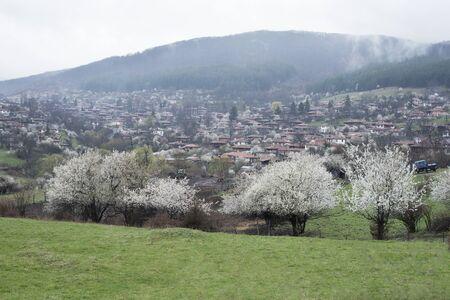 folk village: View of folk museum Zheravna village in Bulgaria. Mountain village.
