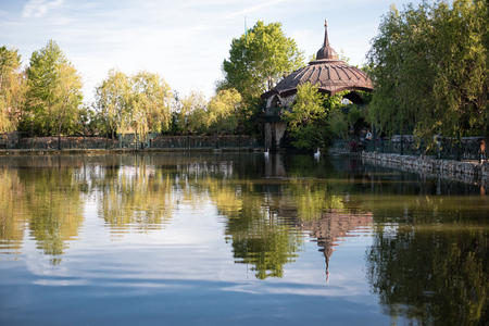 footbridges: Beautiful lake with white swans, wrought iron fence and a green garden flowers and trees around. Outside, a park with birds and animals. Water, enchanting lake. Fairy lake and footbridges surrounded with trees.