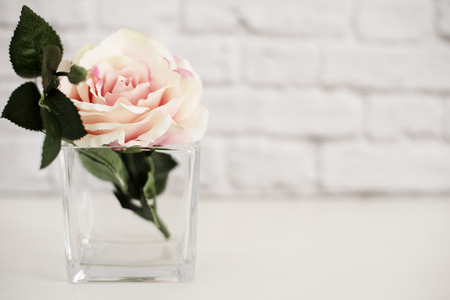 stock photography: Pink Rose Mock Up. Styled Stock Photography. Floral Styled Wall Mock Up. Rose Flower Mockup, Valentine Mothers Day Card, Giftcard, White Desk Mockup
