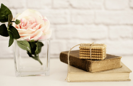 stock photography: Pink Rose Mock Up. Old Books and Cookies. Styled Stock Photography. Floral Styled Wall Mockup, Valentine Mother Day Holiday Mockup, Card, Giftcard