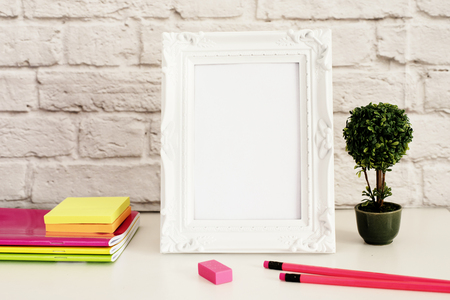 stock photography: White Frame Mock Up, Digital MockUp, Display Mockup, Styled Stock Photography Mockup, Colorful Desktop Mock Up. Office desk neon pencil, pretty pink notebooks, rubber Stock Photo
