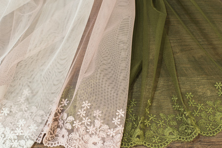 Close up of Beautiful Tulle. Sheer Curtains Fabric Sample. Texture, Background, Pattern. Interior Design. Vintage Lace Tulle Chiffon Imagens