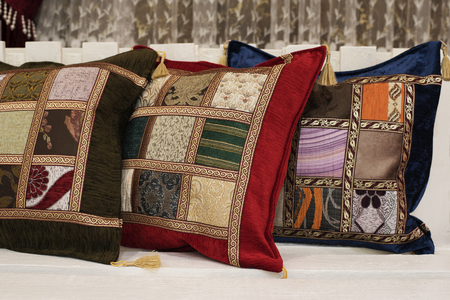 Colorful oriental arabic pillows Imagens