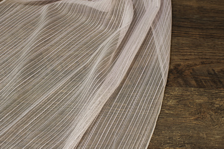 Close up of Beautiful White Tulle. Sheer Curtains Fabric Sample. Texture, Background, Pattern. Interior Design. Vintage Lace Tulle Chiffon