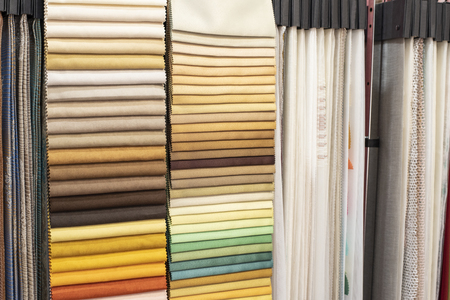 Assortment of fabric samples for curtains, close up