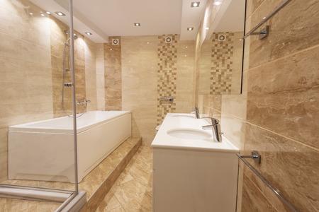 Modern bathroom in neutral colors with a shower and bathtub next to a mirror Imagens