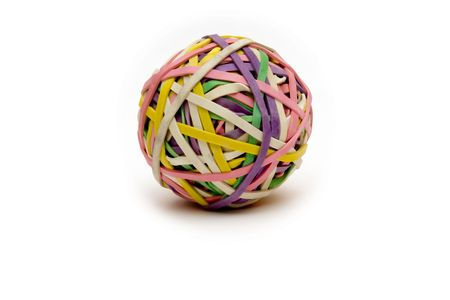 rubberband: rubberband ball on white slight shadow  used to help children with adhd study